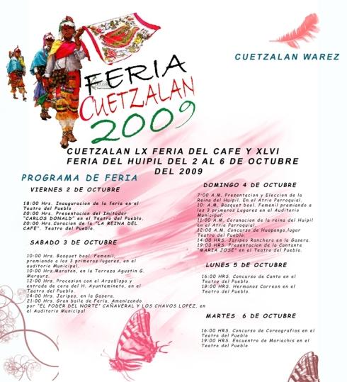 FERIA CUETZALAN 2009 PROGRAMA DE FERIA